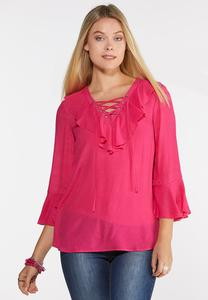 Plus Size Ruffled Lattice Neck Top