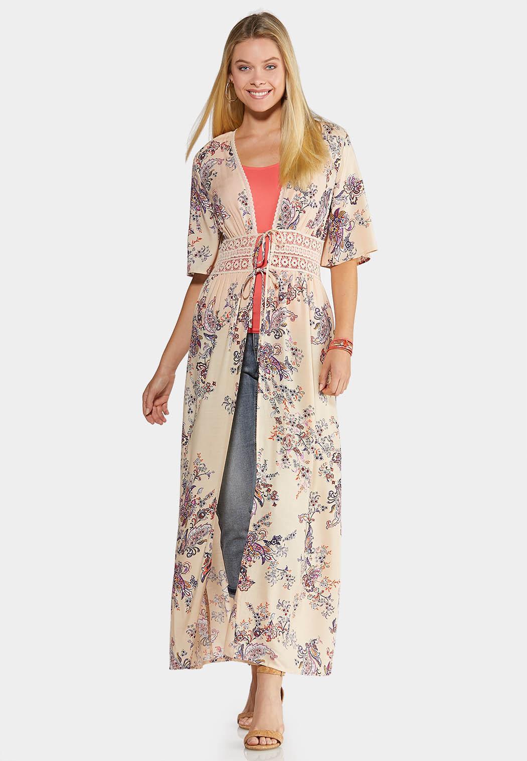 Plus Size Lace Trim Duster Kimono