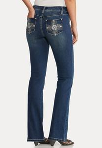 Bootcut Bling Feather Jeans
