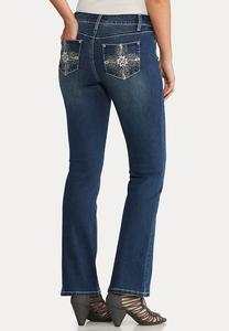 Petite Bootcut Bling Feather Jeans