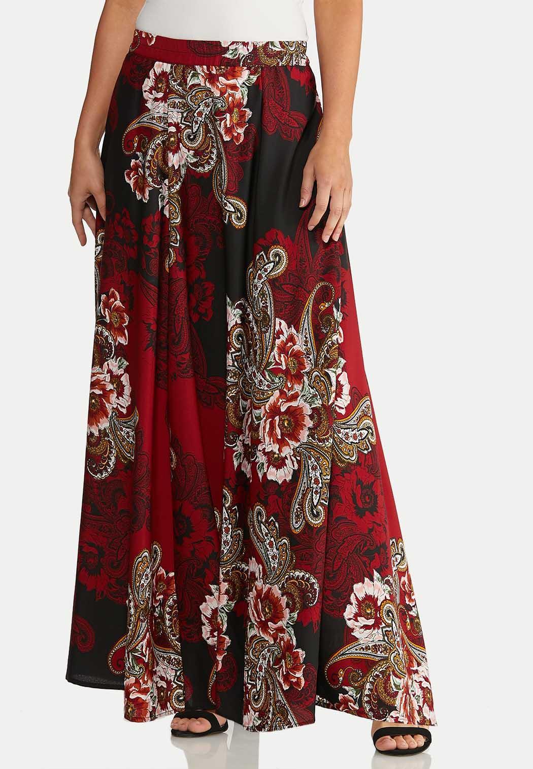 Plus Size Floral Paisley Maxi Skirt
