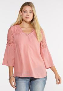 Plus Size Boho Lace Trim Top