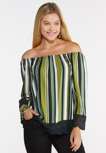 Plus Size Striped Lace Trim Top