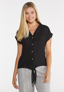Plus Size Gauzy Tie Front Top