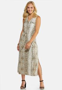 Plus Size Snake Print Midi Dress