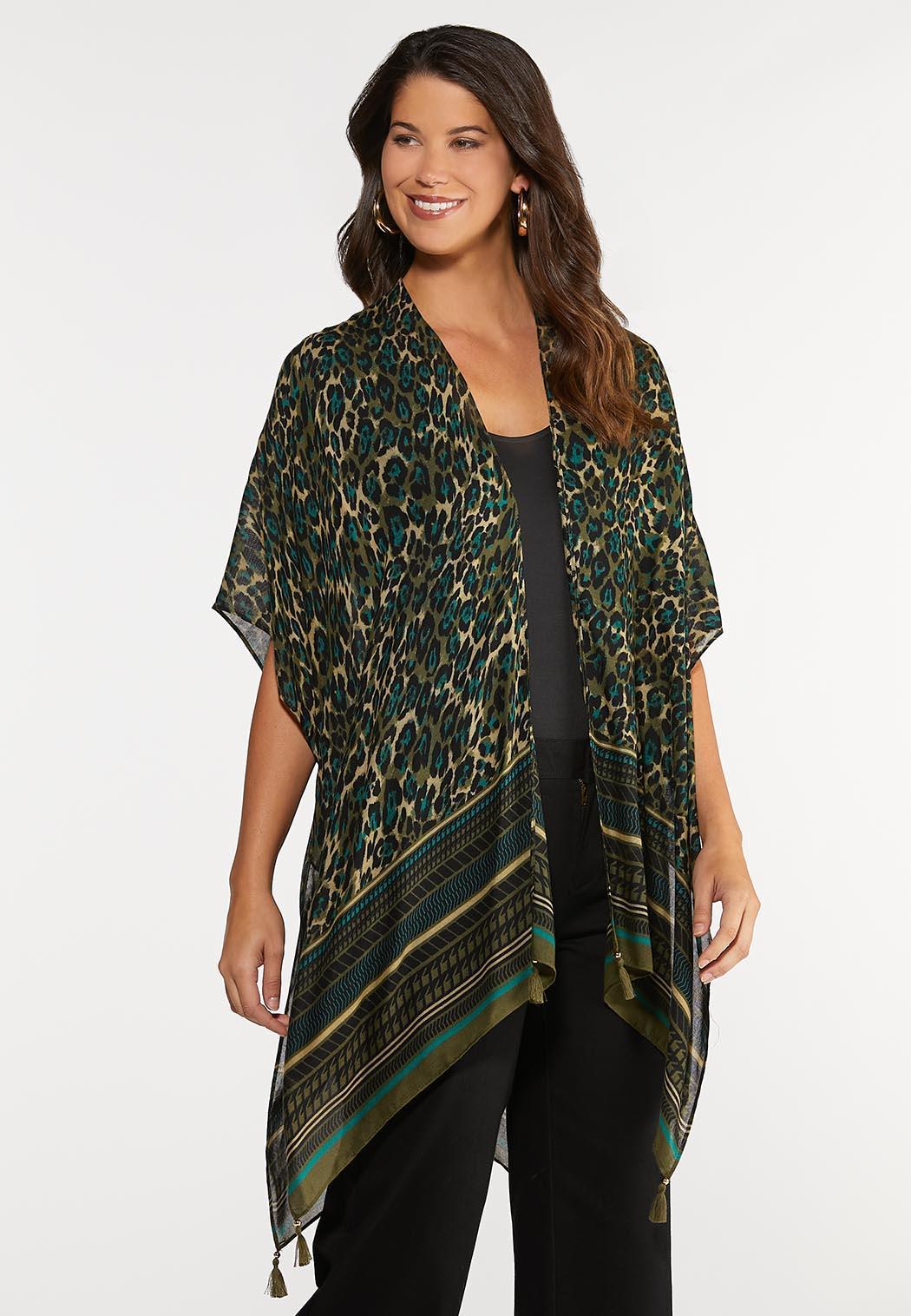 Tasseled Olive Leopard Kimono
