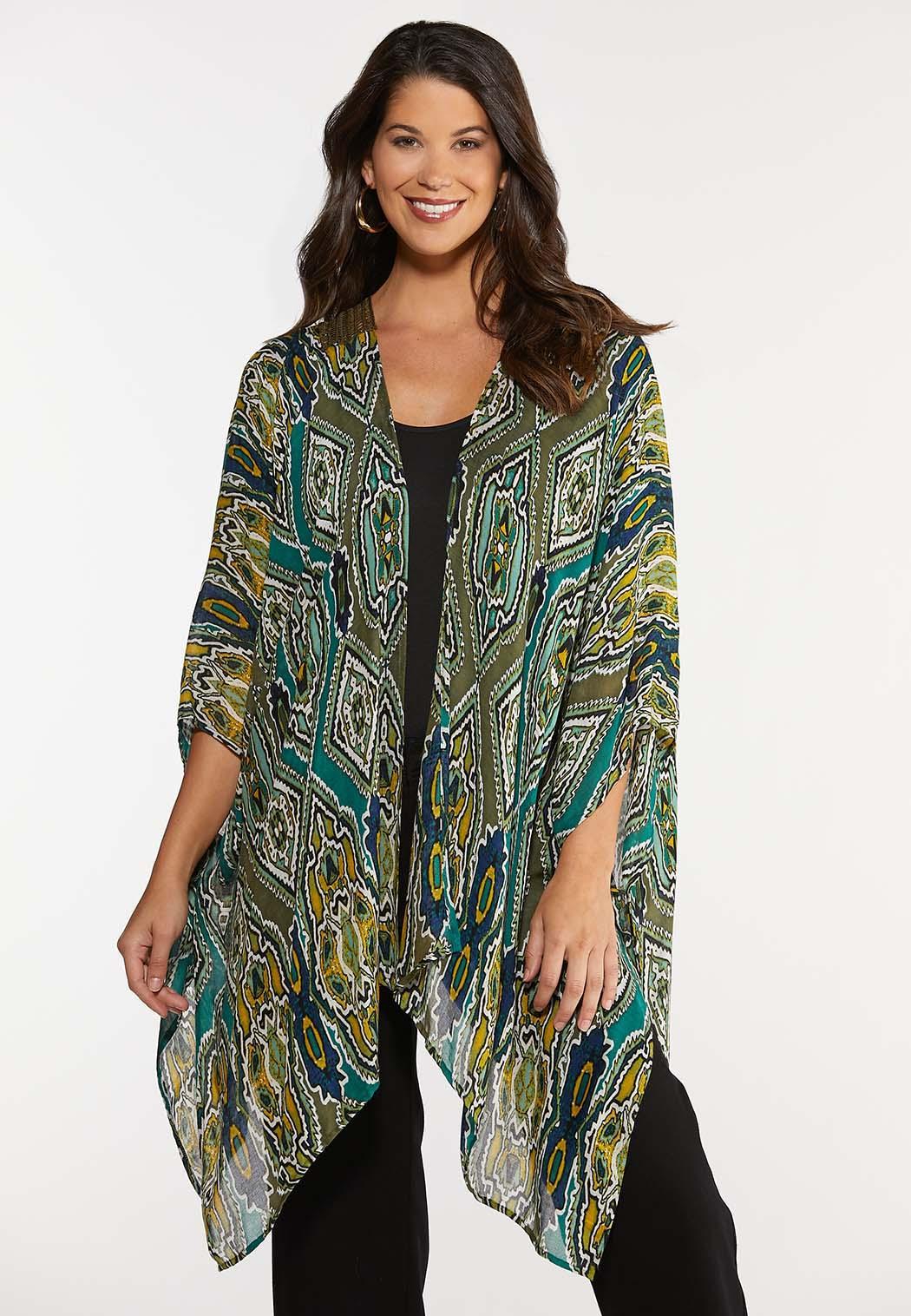 Green Crochet Back Kimono