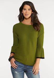 Green Ruffled Sleeve Sweater