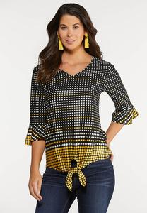 Golden Dot Tie Hem Top