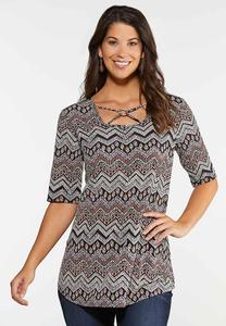 Plus Size Aztec Criss Cross Top