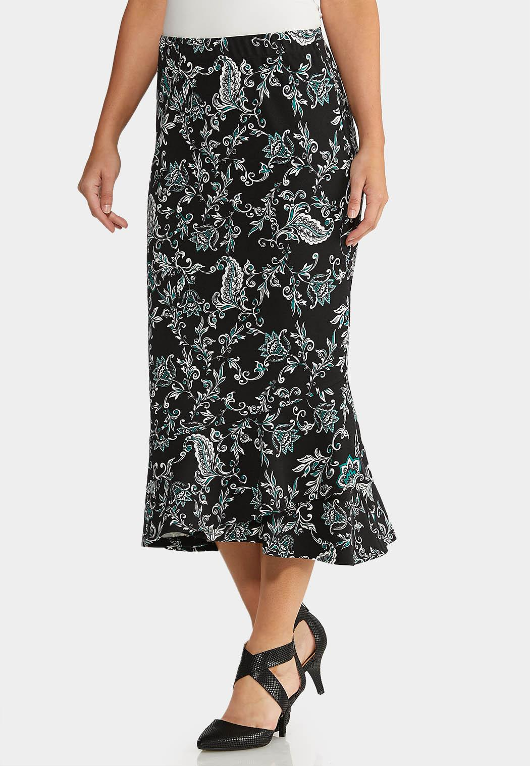 Flounced Midi Skirt