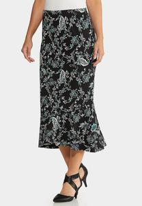 Plus Size Flounced Midi Skirt