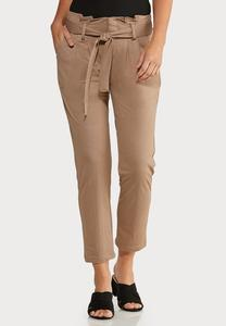 Cropped Paperbag Waist Pants