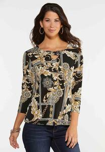 Plus Size Regal Status Puff Print Top