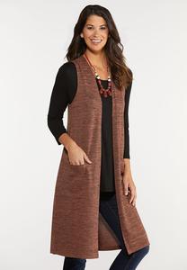 Plus Size Pocket Duster Vest