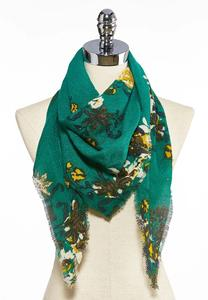 Green Floral Triangle Scarf