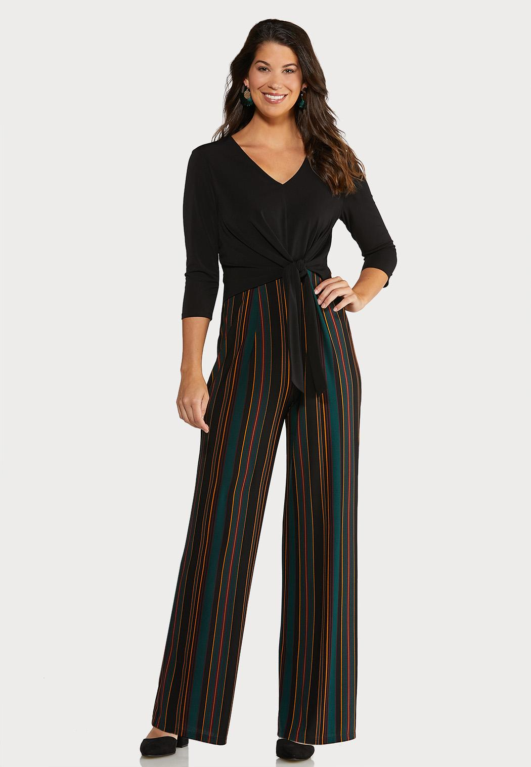 Striped and Solid Jumpsuit