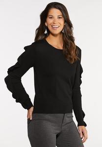 Plus Size Ruffle Sleeve Sweater