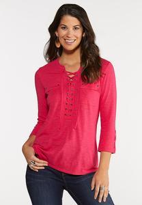Plus Size Lace Up Pocket Top