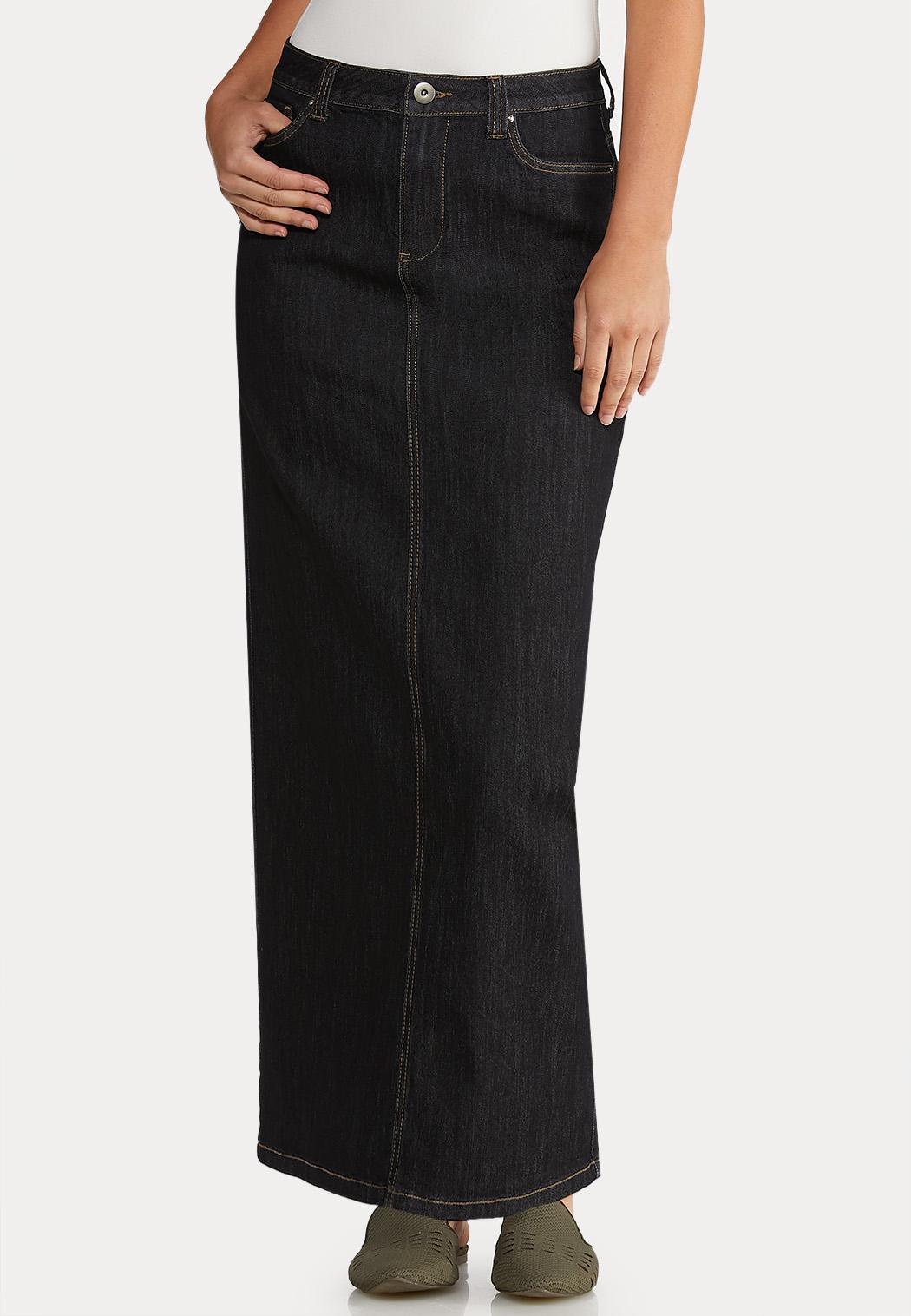 Rinse Denim Maxi Skirt