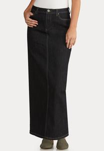 Plus Size Rinse Denim Maxi Skirt