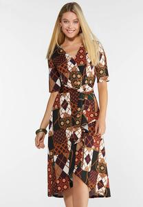 Plus Size Patchwork Status Wrap Dress