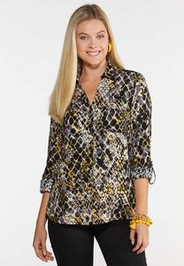 Plus Size Snakeskin Print Top