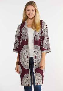 Plus Size Embroidered Wine Kimono