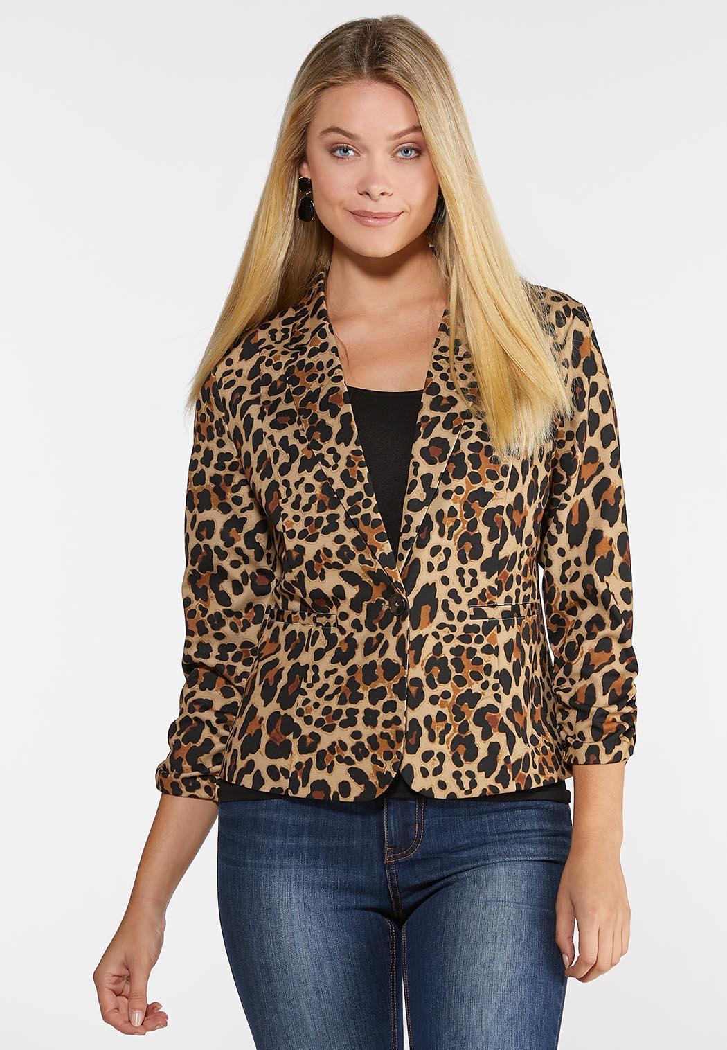 Leopard Ruched Sleeve Blazer
