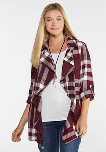 Plus Size Wine Plaid Jacket