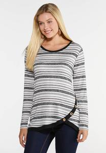 Side Button Stripe Top