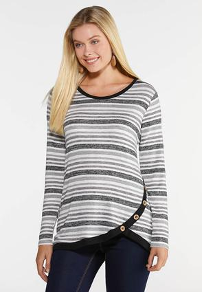 Plus Size Side Button Stripe Top