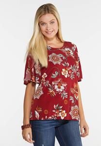 Plus Size Floral Hardware Sleeve Top