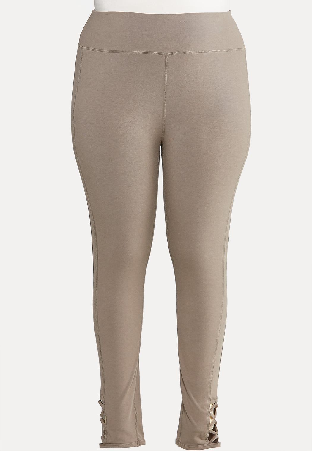 Plus Size Lattice Hem Leggings