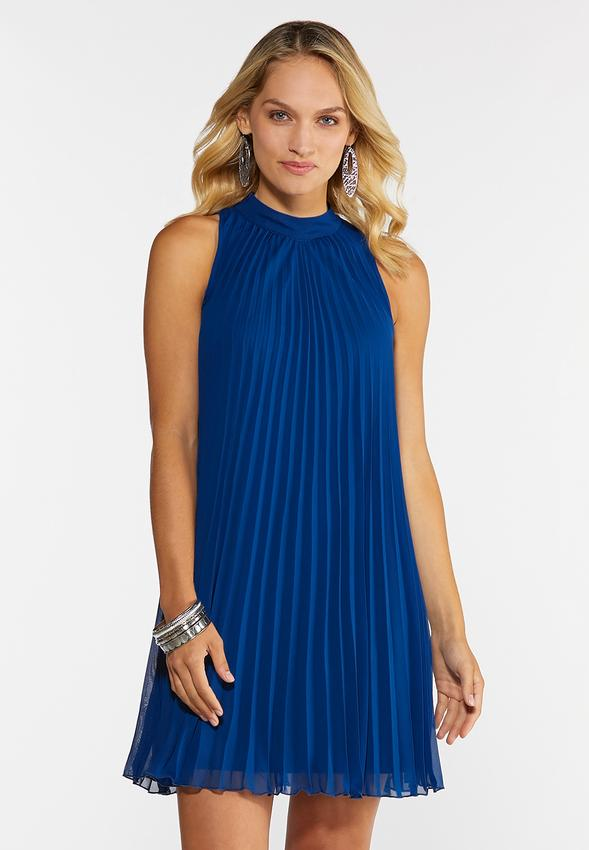 Pleated Wine Swing Dress A- Line & Amp ; Swing Cato Fashions