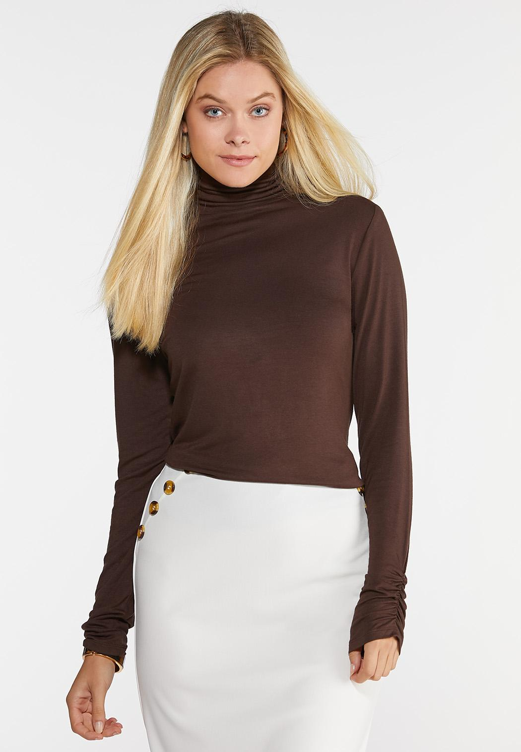 Plus Size Ruched Turtle Neck Top