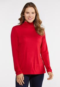 Plus Size Ruched Turtleneck Top