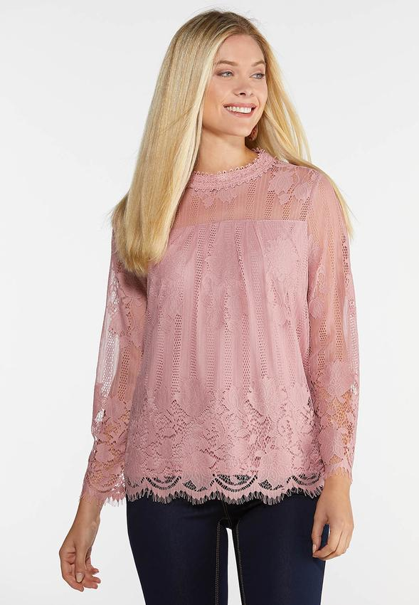 2b59a433 Lace Mock Neck Top