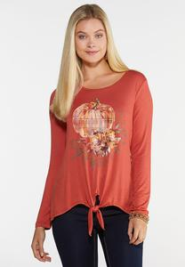 Plus Size Plaid Pumpkin Top