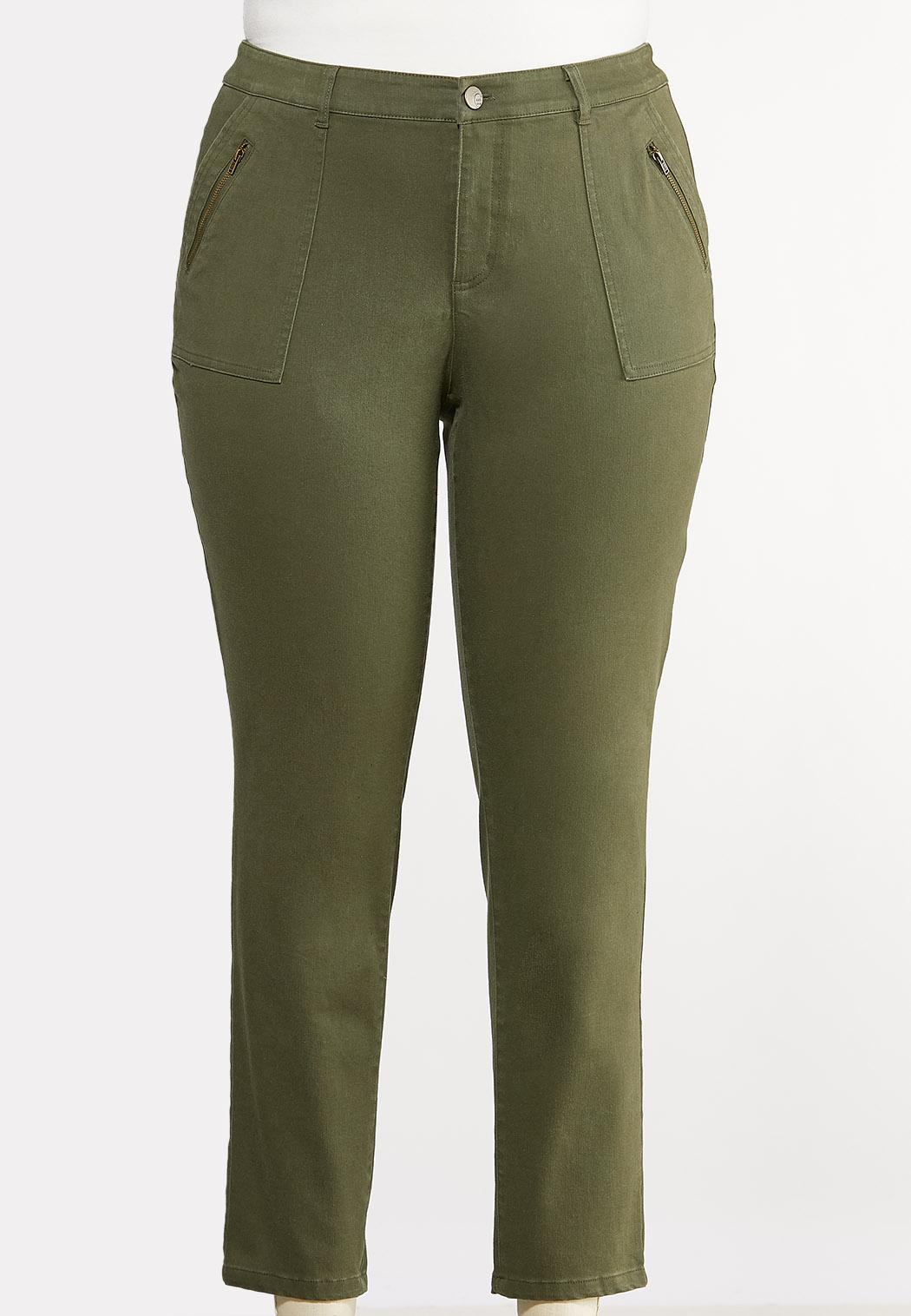 Plus Size Olive Utility Jeans