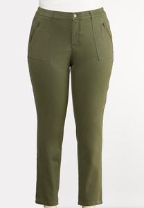 Plus Extended Olive Utility Jeans