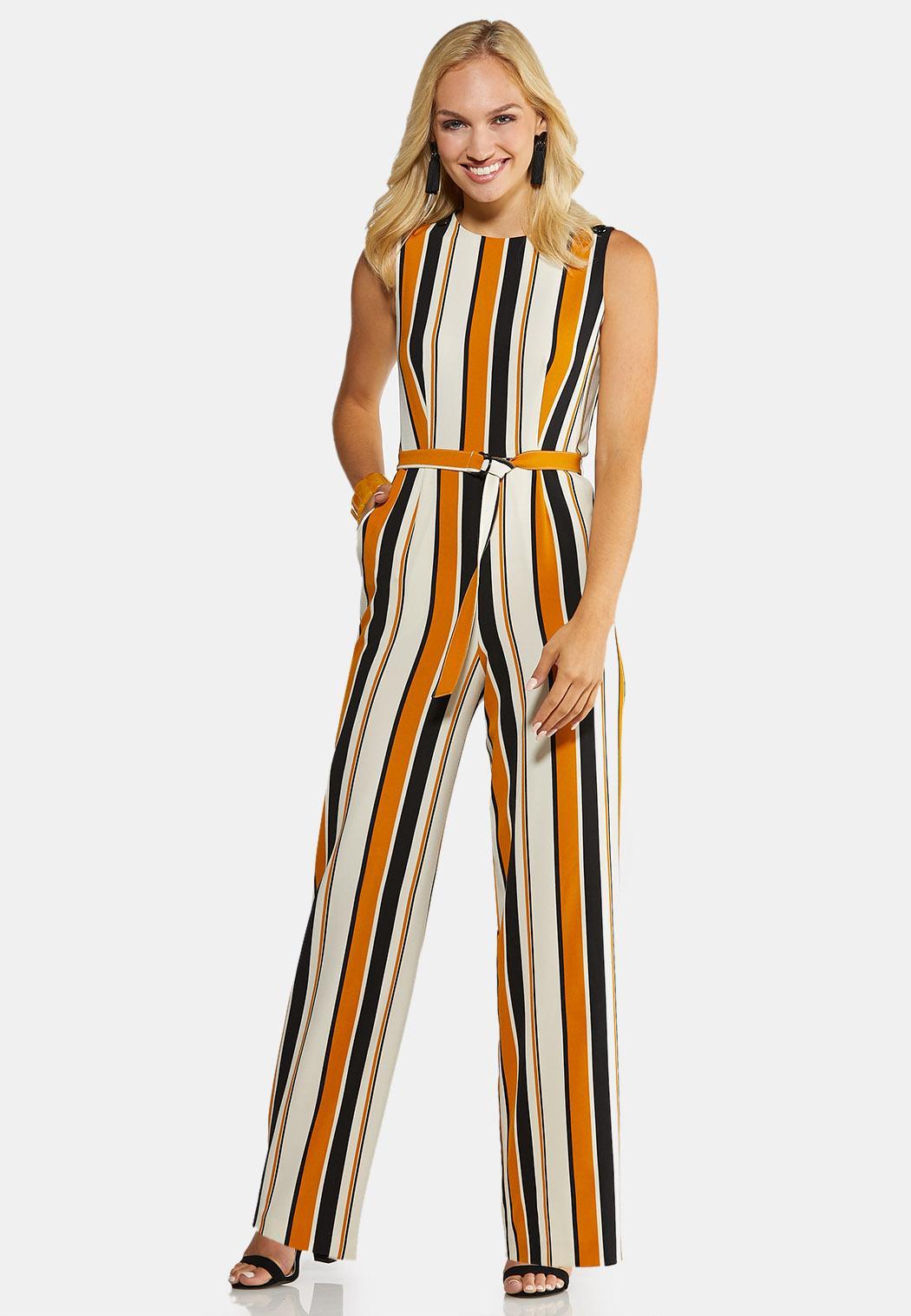Petite Belted Stripe Jumpsuit