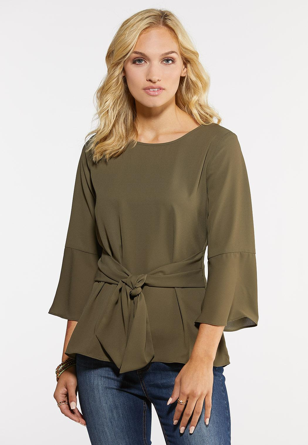 Plus Size Solid Tie Front Top