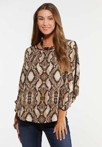 Plus Size Cold Shoulder Snake Top
