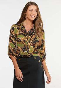Plus Size Basil Status Print Top