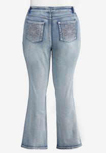 Plus Size Sparkling Embroidered Jeans