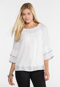 Plus Size Piped Tier Poet Top