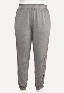 Plus Size Striped Fleece Joggers