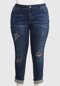 Plus Size Plaid Patch Girlfriend Jeans