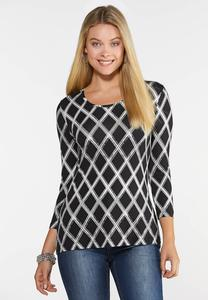 Plus Size Black White Printed Top